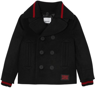 Burberry Double Breasted Wool Blend Jacket