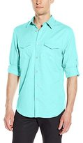 Calvin Klein Men's Linen Long Sleeve Roll Up Shirt