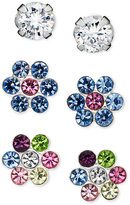 Unwritten Sterling Silver Earrings Set, Cubic Zirconia (1/5 ct. t.w.) and Flower Studs