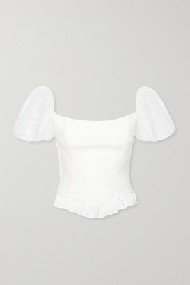 De La Vali Koko Ruffled Fil Coupe Cotton Top - White