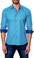 Jared Lang Dotted Long Sleeve Trim Fit Shirt