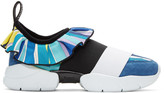 Emilio Pucci Blue Colorblock Slip-On Sneakers
