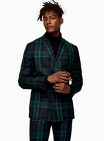TopmanTopman Navy and Green Check Skinny Fit Double Breasted Suit Blazer With Notch Lapels