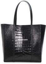 Balenciaga Small Everyday Croc-Embossed Leather Tote