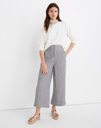 Madewell Linen Huston Button-Front Crop Pants in Check