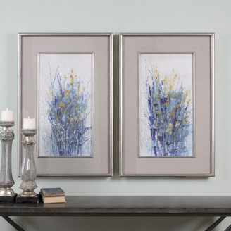 "Uttermost Indigo Florals"" 2-Piece Framed Art Set, 27.5""x41.5"""