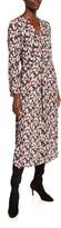 Vince Micro Painted Floral Twist Drape Midi Dress