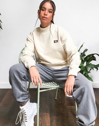 Dickies Bardwell mock neck oversized sweatshirt in light taupe