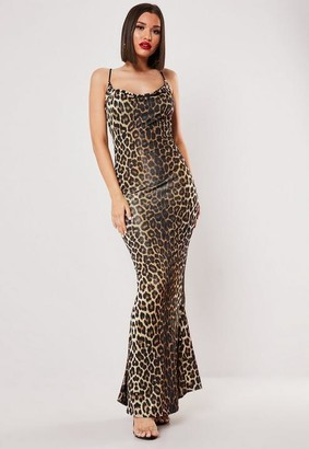 Missguided Brown Leopard Slinky Cowl Maxi Dress