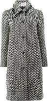 Lanvin tweed style buckle detail collar coat - women - Calf Leather/Polyamide/Acetate/Alpaca - 38