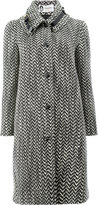 Lanvin tweed style buckle detail collar coat