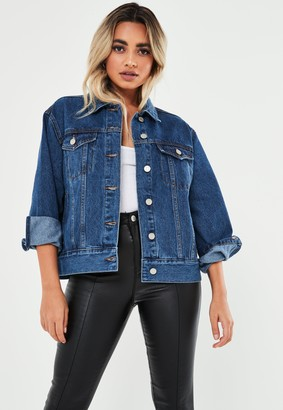 Missguided Petite Blue Oversized Denim Jacket