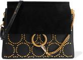 Chloé Faye Medium Studded Leather And Suede Shoulder Bag - Black