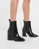 Asos Design DESIGN Rocco pointed heeled boots in black croc