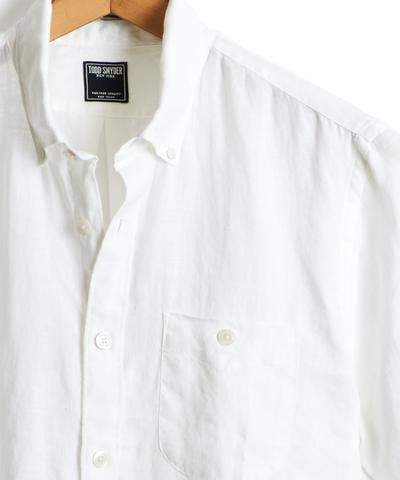 Todd Snyder Short Sleeve Linen Button Down Shirt in White