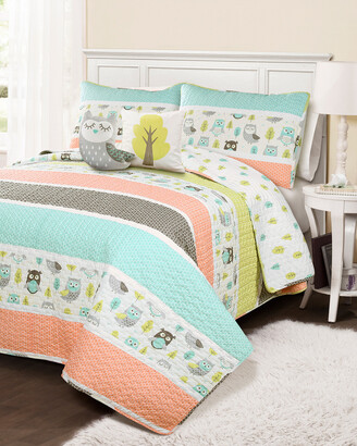 Triangle Home Fashion Fashions 5Pc Owl Full/Queen Quilt Set