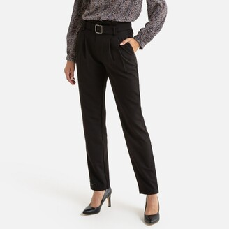 Straight High Waist Trousers with Belt