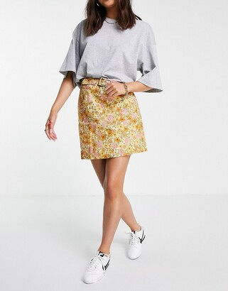 And other stories & co-ord linen mini skirt in floral