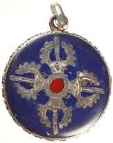 Exotic India Vishva Vajra Inlay Pendant - Sterling Silver