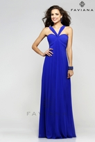 Faviana Ruched Mesh Empire Evening Dress 7672