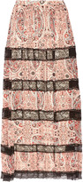 Alice + Olivia Hetty lace-paneled printed georgette maxi skirt