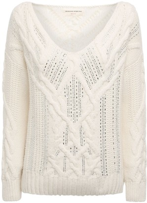 Ermanno Scervino Crystals Embellished Knit V Neck Sweater