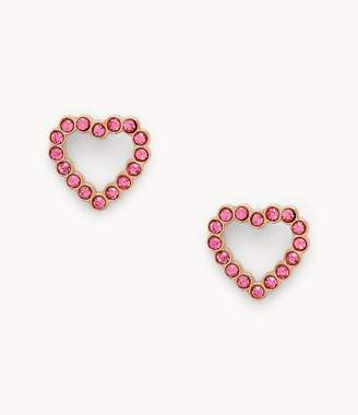 Fossil To The Heart Fuchsia Stainless Steel Stud Earrings jewelry JF03336791