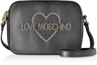 Love Moschino Small Leather Crossbody bag w/ Golden Studs