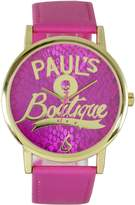 Pauls Boutique Women's Quartz Watch with Pink Dial Analogue Display and Pink Plastic or PU Strap PA020PKGD