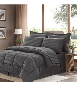 Sweet Home Collection Dobby Embossed Queen 8-Pc Comforter Set Bedding
