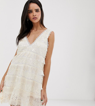 Dusty Daze oversized sequin swing dress with tassles-Cream