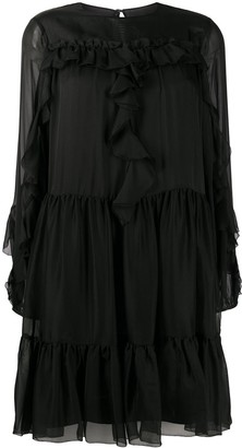 Temperley London Lovebird tiered silk dress