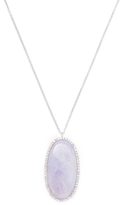 Meira T 14K White Gold, Purple Jade & 0.64 Total Ct. Diamond Oval Pendant Necklace