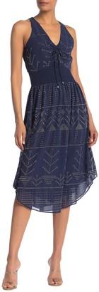 Ramy Brook Mason V-Neck Printed Midi Dress