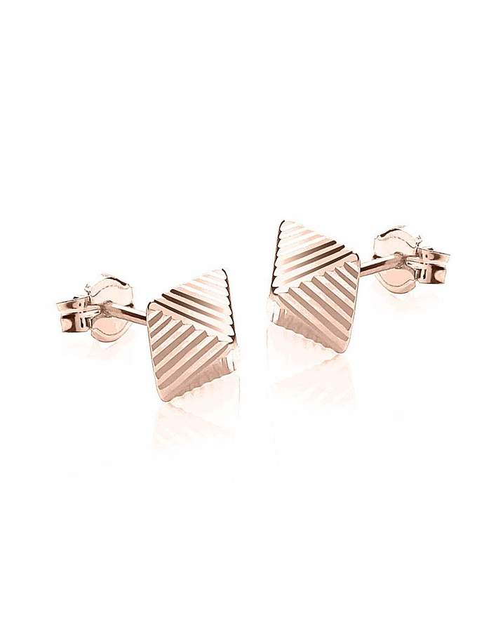 Fashion World 9Ct Gold Pyramid Stud Earrings