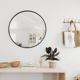 Harriman & Co. - 61 x 61cm Small Black Round Glass Hub Mirror - small | glass | black - Black/Black
