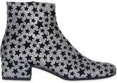 Saint Laurent 40mm Babies Velvet Stars & Glitter Boots
