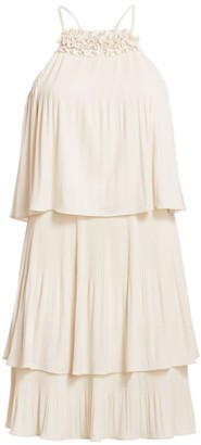 Halston Pleated Tiered Jersey Dress