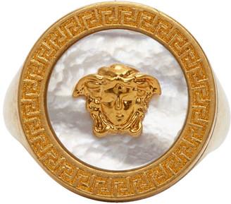 Versace Gold Pearl Medusa Signet Ring