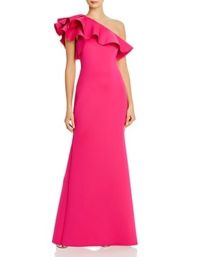 Eliza J Ruffled One-Shoulder Gown