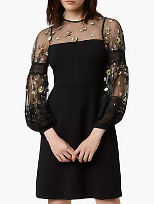 French Connection Paulette Floral Embroidered Mini Dress, Black