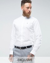 Noose & Monkey Skinny Grandad Collar Oxford Shirt