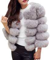 Woya Women Fur Coat False Faux Fur Short Patchwork Girl Winter Warm Jacket
