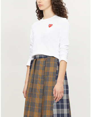 Comme des Garcons Ladies White Heart-Appliqued Cotton-Jersey Top, Size: XS