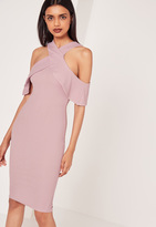 Missguided Cold Shoulder Layered Midi Dress Lilac