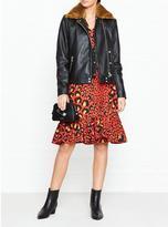 Gestuz Kate Faux Fur Collar Leather Jacket