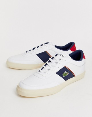 Lacoste Courtmaster trainers with navy side stripe in white leather