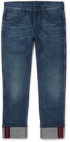 Gucci Slim-Fit Cropped Washed-Denim Jeans