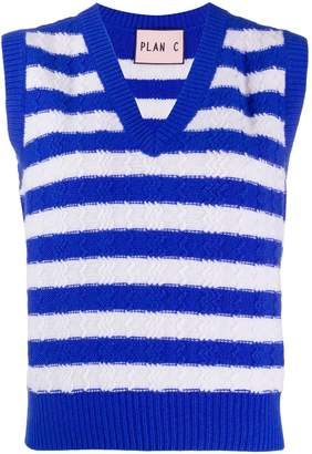 Plan C striped cable-knit sweater vest