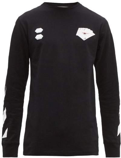 Off-White Off White Card Print Long Sleeved Cotton T Shirt - Mens - Black Multi